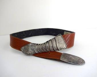 Vintage SNAKE Belt • 1980s Accessories • Unique Serpent Silver Belt Buckle Brown Leather Embellish Americana Western Nina Arjani Leatherock