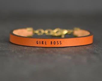 girl boss | gift for boss | the future is female | inspirational bracelet | boss babe | girl power | like a boss bracelet | leather bracelet