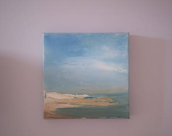 Beach Study- 6 x 6 Unframed- Oil on Stretched Canvas- Painting-Original Painting - Impressionistic-Atmospheric