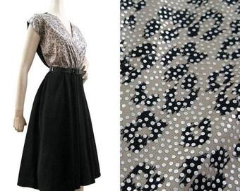 REDUCED Vintage 80s Dress Leopard Silver Black Surplice Bust Full Skirt Dance Dress Disco M L