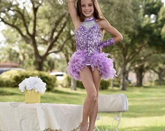 girls jazz musical theater dance lilac purple costume sequins
