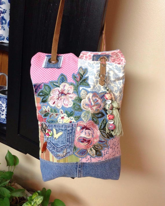 Handmade Colorful denim and floral boho messenger hippie shoulder bag made of recycled materials