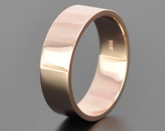 14K Rose Gold 7mm Modern Minimalist Wedding Band
