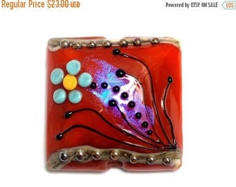 ON SALE 30% off NEW! Handmade Glass Lampwork Bead - 11837604 Vintage Florals Pillow Focal Bead