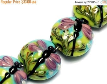 ON SALE 30% off Four Purple Dragonfly Lentil Beads 10504412 - Glass Lampwork Bead Set