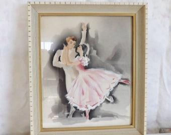 On Sale Vintage framed signed Harris ballet dancers Hollywood Regency airbrush watercolor painting pink tutu ballerina print
