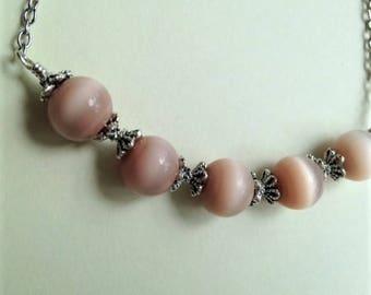 Beige Cats Eye Necklace , Mauve Pink Necklace, Pale Pink Beige Cats Eye and Silver Necklace