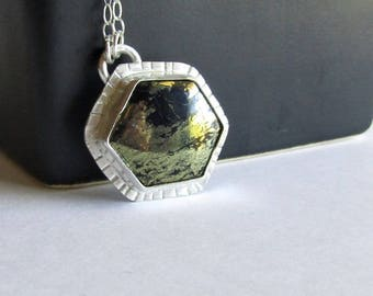 Hexagon Pyrite Necklace - Pyrite in Chalcedony - Fool's Gold Necklace - Pyrite Jewelry - Textured Silver Jewelry
