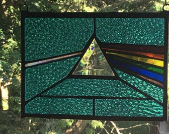 Dark Side Of The Moon Stained Glass Panel Pink Floyd in Aqua