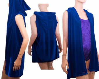 velvet cardigan coverup with pixie hood choose from 15 colors MTcoffinz festival rave sweater vest