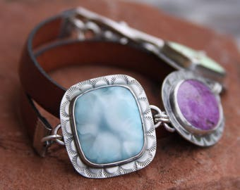 RESERVED for Claudia oOo larimar, purpurite, chrysoprase, leather, and sterling silver metalwork link toggle bracelet