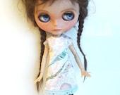 "Handmade  Romantic  Shabby Chique Jersey Dress ""Bird"" for Blythe 1/6"