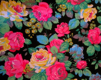 Vintage French Fabric,  French Florals, 1970s Floral Fabric, Dress Fabric, Floral Cabbage Roses, Florals On Black, Dress Making Material