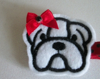 Boutique Embroidered Felt Bulldog Hair Clip, Toddlers Hair Clips, Girls Hair Bows, Football, Red and Black, Bulldogs (Item #16-450)