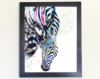 Zebra Spirit Animal Art Print Watercolor Totem Guide