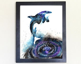 Orca Spirit Totem Animal (killer whale blackfish) Art Print Watercolor