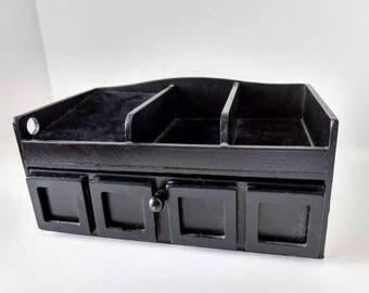 Black dresser valet, Wood desk organizer, phone valet, jewelry box drawer, ipod smartphone home office dock and storage