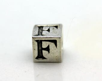 Sterling Silver Alphabet F Block Cube Square Bead 5.5mm Large Hole