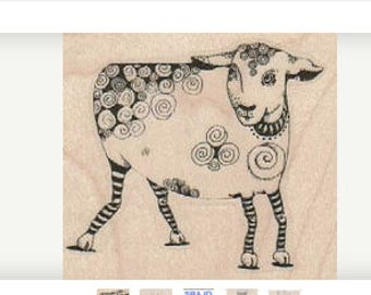Sheep lamb tangle Steampunk Stamp whimsical Rubber Stamp by Mary Vogel Lozinak 18979 Gummistempel