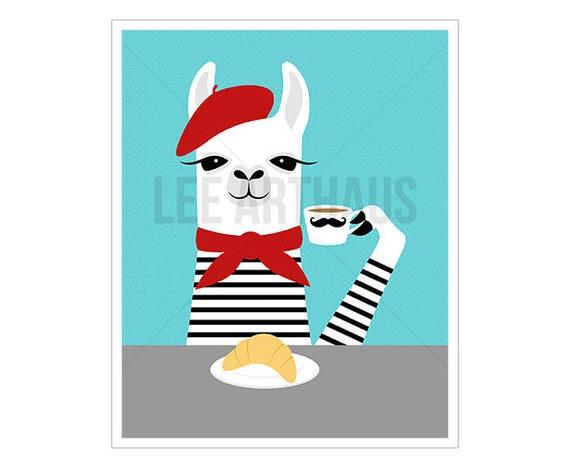 43J Animal Art - French Llama Drinking Coffee and Eating Croissant Wall Art - White Llama Print - Funny French Wall Art - Llama Decor