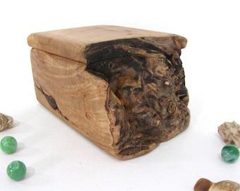 Maple Burl Box, small cremation urn, pet urn, gratitude box, valet box, wood art, wood anniversary, retirement gift, wooden jewelry box