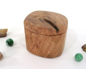 Maple Burl Heartwood Box, engagement ring box, ring bearer box, proposal box, earring box, small gift box, guitar pick box