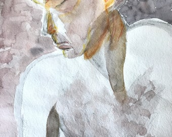 vintage original watercolor - nude woman painting - nude male portrait