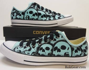 Converse Chuck Taylor All Star US Mens Size 10 - US Womens Size 12 Skull shoes unique hand painted by RokGear - Ready to Ship