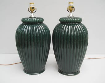 Gorgeous ceramic lamps - 1990s forest green - oversized