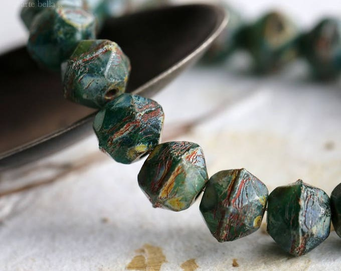 SEASHORE NUGGETS .. 20 Picasso Czech Glass English Cut Beads 8mm (5924-st)