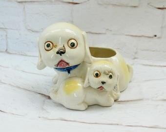 Vintage Japanese Bug-Eyed Pug Puppy Planter Vase Weird Odd Creepy Ceramic Mother Dog