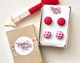 Valentine Earrings, Mommy and Me Earrings, Post Earrings, Stud Earrings, Heart Earrings, Button Jewelry