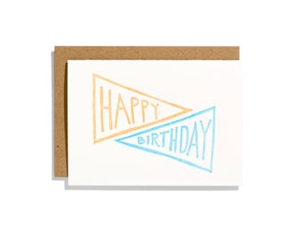 Birthday Pennant Poppy - Letterpress Birthday Card - CB111