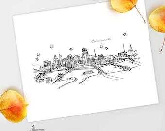 Cincinnati, Ohio - United States - Instant Download Printable Art - City Skyline Series