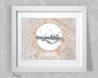 Florence, Italy - Europe - Instant Download Printable Art - Vintage City Skyline Map Series