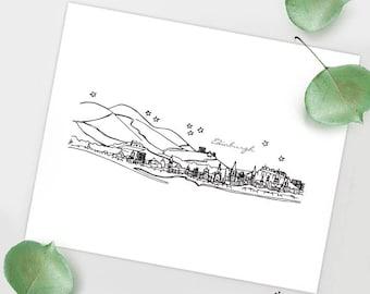 Edinburgh, Scotland - Europe - Instant Download Printable Art - City Skyline Series