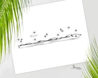 Hawaiian Islands - United States - Instant Download Printable Art - City Skyline Series