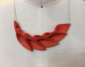 Petal Collection-  orange Leather Petals Necklace