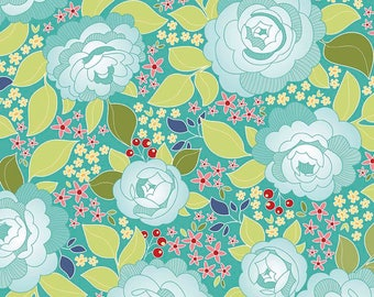 RILEY BLAKE Designs Main Garden Teal Into the Garden C5590-TEAL by Amanda Herring