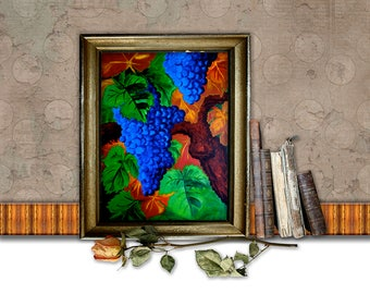 New Wine 8X10 original acrylic painting (digital, printable file)