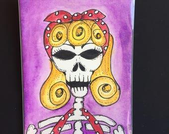ACEO Original Watercolor and Ink Rockabilly Skeleton