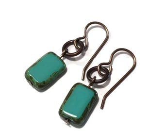 Turquoise green earrings with brass accents  Short earrings