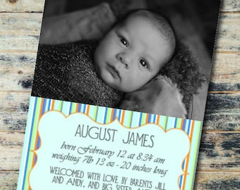 Baby Announcement, green/blue  PRINTABLE FILE