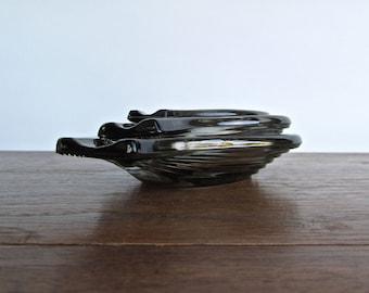Striated Crystal Smoke-Blue Nesting Ashtrays, Onion Shaped Funky-Classy Modern Glass Barware Accessory