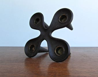 Jens Quistgaard Cast Iron Candle-Holder. Denmark IHQ Cast-Iron Clover-Shaped Model by IHQ Jens Quistgaard