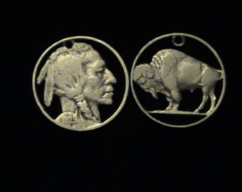 cut coin jewelry set - Buffalo and Indian Chief pendants - 1929 and 1918 - LOW PRICE