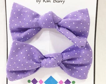 Hair Bow Clip Set - White Dots on Purple Free Shipping in the US