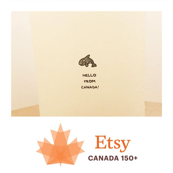 Hello From Canada Cute Greeting Card Orca Whale Nice Sweet for Her Mom Sister Friend Adorable Recycled Edge Made in Canada Toronto Wholesale