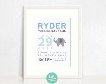 Elephant Wall Art Birth Announcement Print // Custom Nursery Art // Baby Boy // New Baby Gift // 8x10 Birth Stat Poster // Grey, Blue, Navy