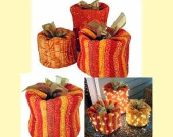 PATTERN FESTIVE PUMPKINS with or without lights in 3 Sizes